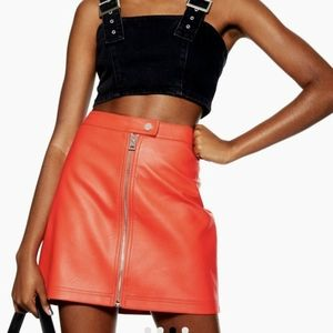 Topshop Red Faux Leather Zip Front Mini Skirt